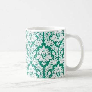 Emerald Green Damask Coffee Mug