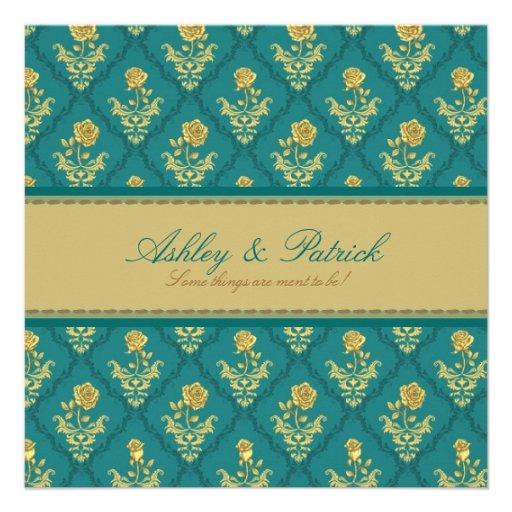 Emerald Green Damask Wedding Invitation