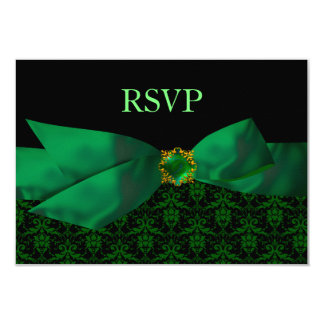 Emerald Green Damask Wedding RSVP Card