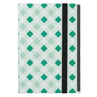 Emerald Green Diamond Windowpane Check Pattern iPad Mini Cover