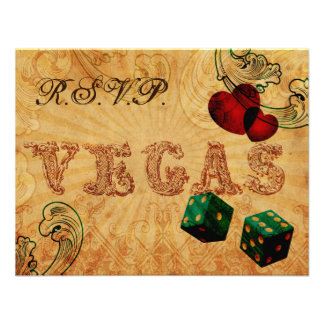 emerald green dice Vintage Vegas wedding rsvp Personalized Invitation