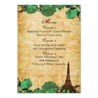 "emerald green eiffeltower Paris wedding menu cards 5"" X 7"" Invitation Card"
