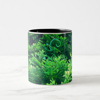 Emerald Green Elegant Feline Cat Two-Tone Coffee Mug