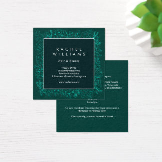 Emerald green floral border square business card