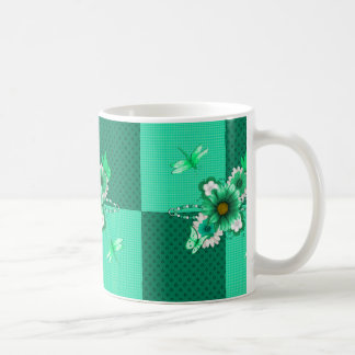 Emerald Green Floral Coffee Mug