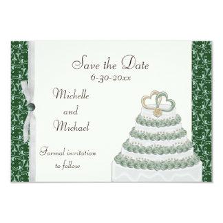 "Emerald Green Florentine Save the Date 3.5"" X 5"" Invitation Card"