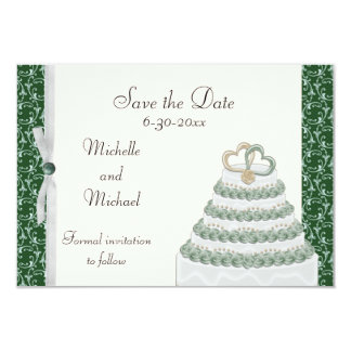 Emerald Green Florentine Save the Date Card