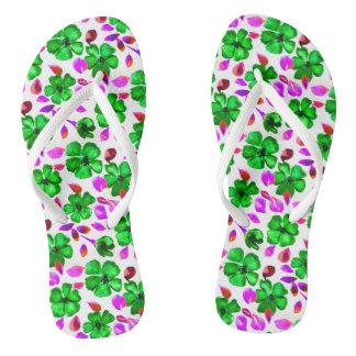 Emerald Green Flowered Flip Flops 2