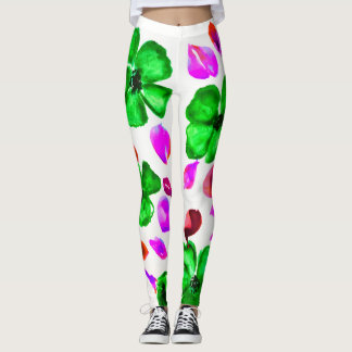 Emerald Green Flowered Leggings