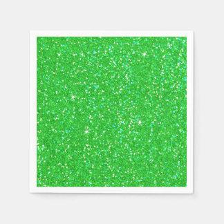 Emerald Green Glitter Effect Sparkle Disposable Napkins