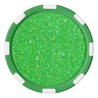 Emerald Green Glitter Effect Sparkle Poker Chips