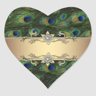 Emerald Green Gold Elegant Peacock Stickers