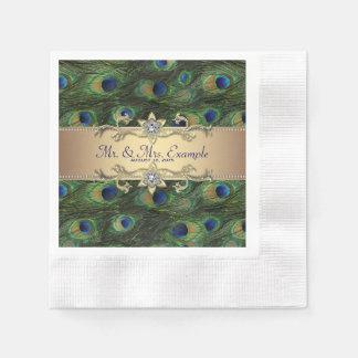 Emerald Green Gold Peacock Wedding Disposable Napkin