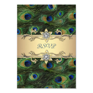 """Emerald Green Gold Royal Indian Peacock RSVP 3.5"""" X 5"""" Invitation Card"""