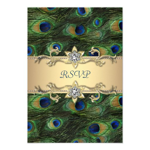 Emerald Green Gold Royal Indian Peacock RSVP Custom Invite