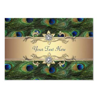 "Emerald Green Gold Royal Indian Peacock Wedding 3.5"" X 5"" Invitation Card"