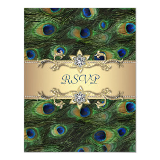 Emerald Green Gold Royal Indian Peacock Wedding Card