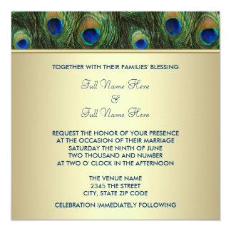 "Emerald Green Gold Royal Indian Peacock Wedding 5.25"" Square Invitation Card"