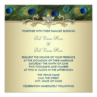 Emerald Green Gold Royal Indian Peacock Wedding Custom Invites