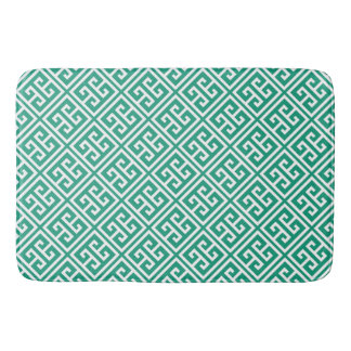 Emerald Green Greek Key Pattern Bath Mat