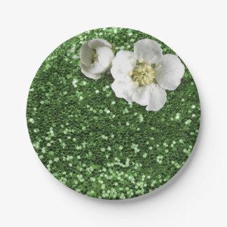 Emerald Green Greenery White Jasmine Glitter Paper Plate