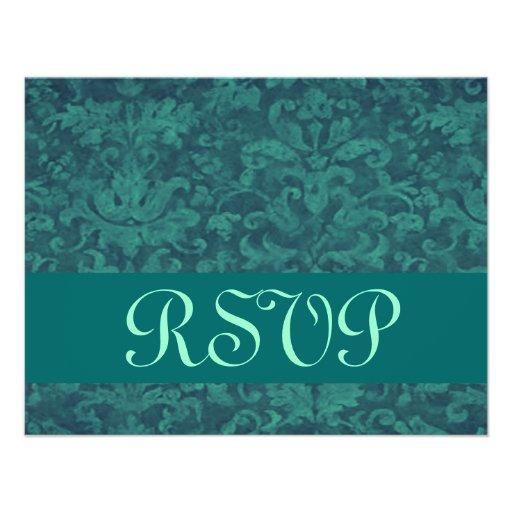 Emerald Green Grunge Damask RSVP Wedding Custom Announcement