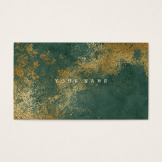 Emerald Green Grungy Distressed Gold Vip Business Card