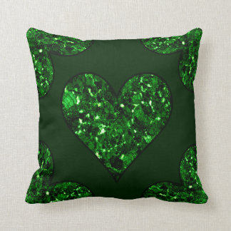 Emerald Green Heart Throw Pillow