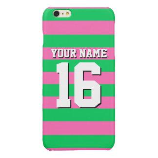 Emerald Green Hot Pink Team Jersey Preppy Stripe