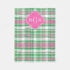 Emerald Green Hot Pink Wht Preppy Madras Monogram Fleece Blanket