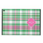 Emerald Green Hot Pink Wht Preppy Madras Monogram Powis iPad Air 2 Case