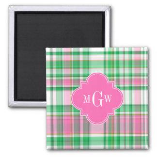 Emerald Green Hot Pink Wht Preppy Madras Monogram Square Magnet
