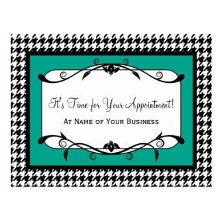 Emerald Green Houndstooth Appointment Reminder Postcard