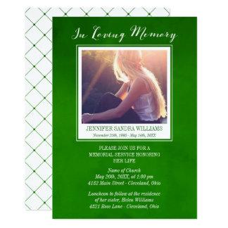 Emerald Green In Loving Memory Photo Memorial Card