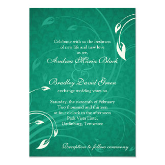 Emerald Green Ivory Floral Wedding Invitation