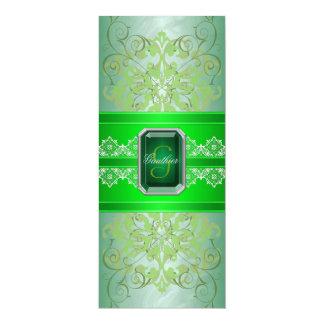 Emerald Green Jeweled Ribbon Wedding Invitation