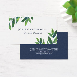 Emerald Green Leaves - Therapist Business Card