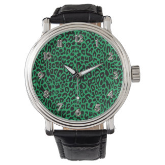 Emerald Green Leoopard Animal Print Watch