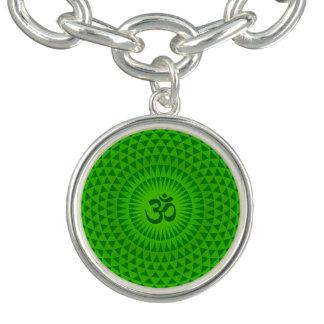 Emerald Green Lotus flower meditation wheel OM Charm Bracelet