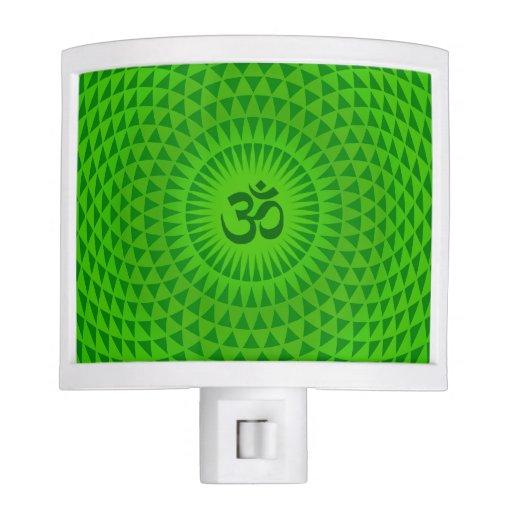 Emerald Green Lotus flower meditation wheel OM Night Lights