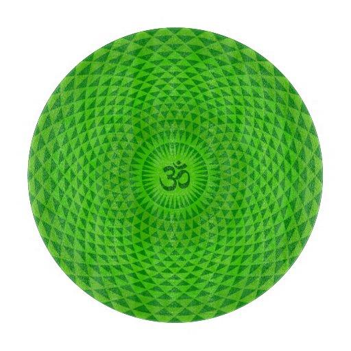 Emerald Green Lotus flower meditation wheel OM Cutting Board