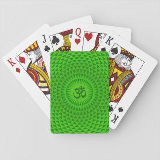 Emerald Green Lotus flower meditation wheel OM Card Decks