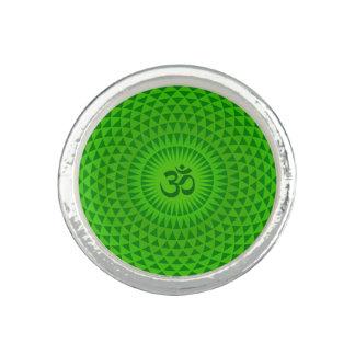 Emerald Green Lotus flower meditation wheel OM Photo Rings