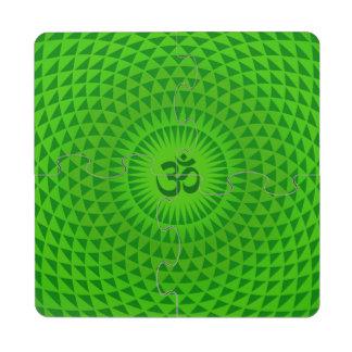 Emerald Green Lotus flower meditation wheel OM Puzzle Coaster