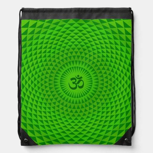 Emerald Green Lotus flower meditation wheel OM Drawstring Backpacks