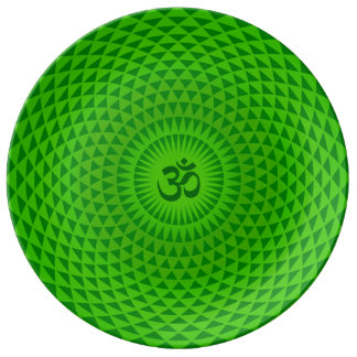 Emerald Green Lotus flower meditation wheel OM Porcelain Plates