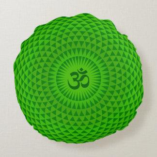 Emerald Green Lotus flower meditation wheel OM Round Pillow