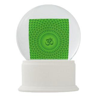Emerald Green Lotus flower meditation wheel OM Snow Globe