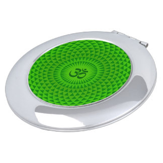 Emerald Green Lotus flower meditation wheel OM Vanity Mirrors