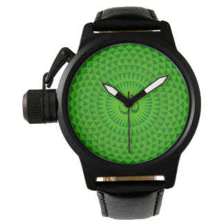 Emerald Green Lotus flower meditation wheel OM Wrist Watches